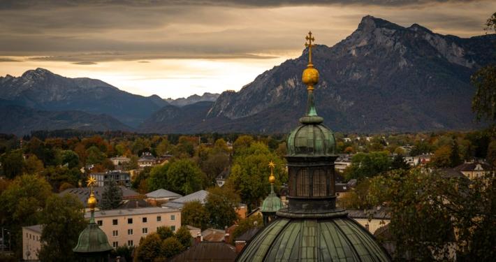 A sunset amongst the mountains around Salzburg