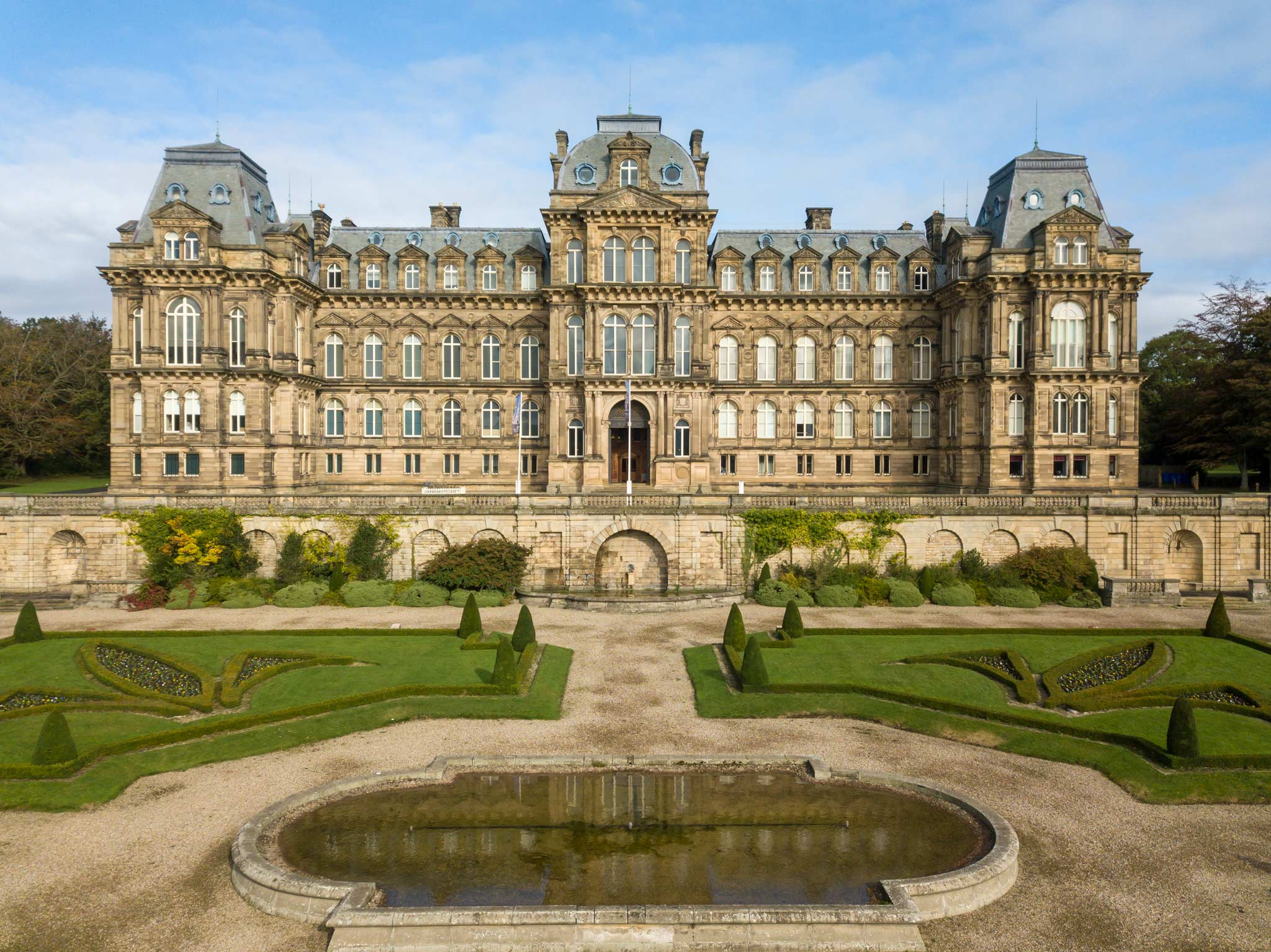 The Bowes Museum in Durham is a large french chateau style building set in manicured gardens