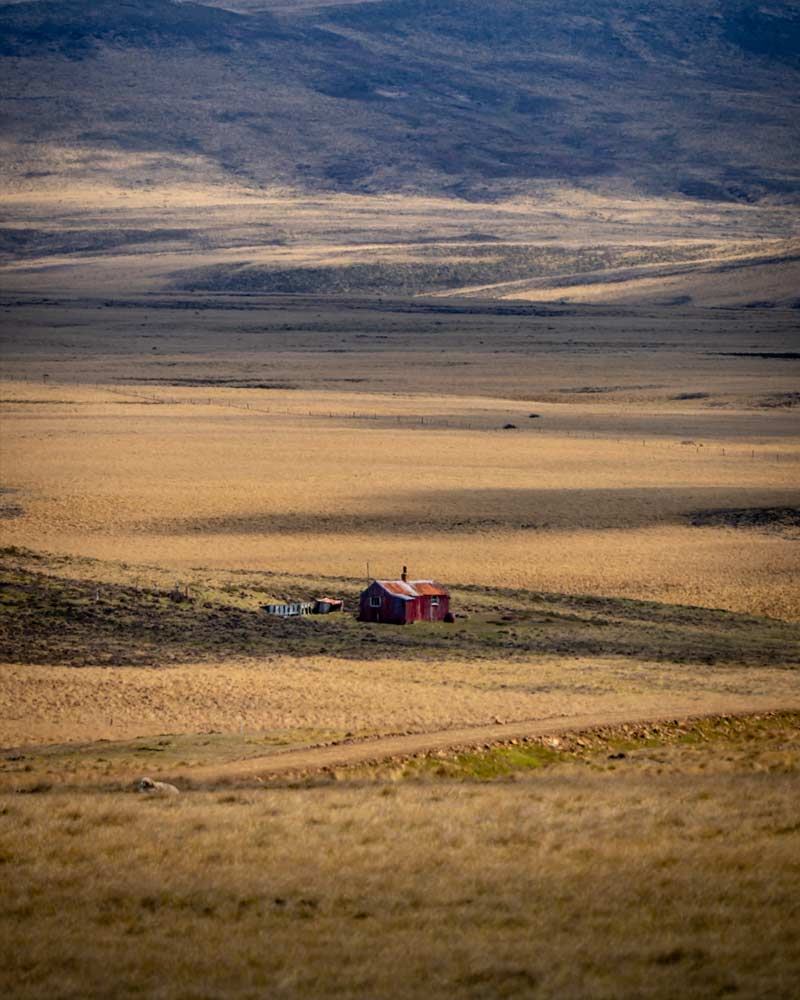 Occasionally a farming hut breaks the landscape
