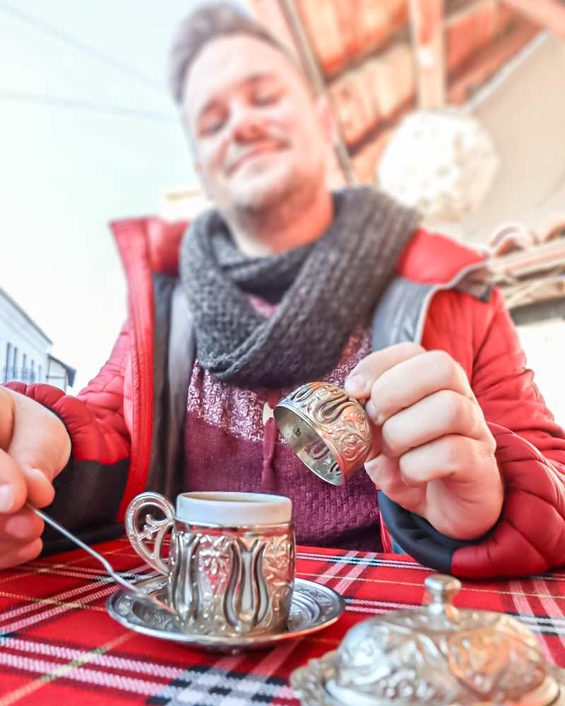Enjoying a coffee in Bansko Old Town