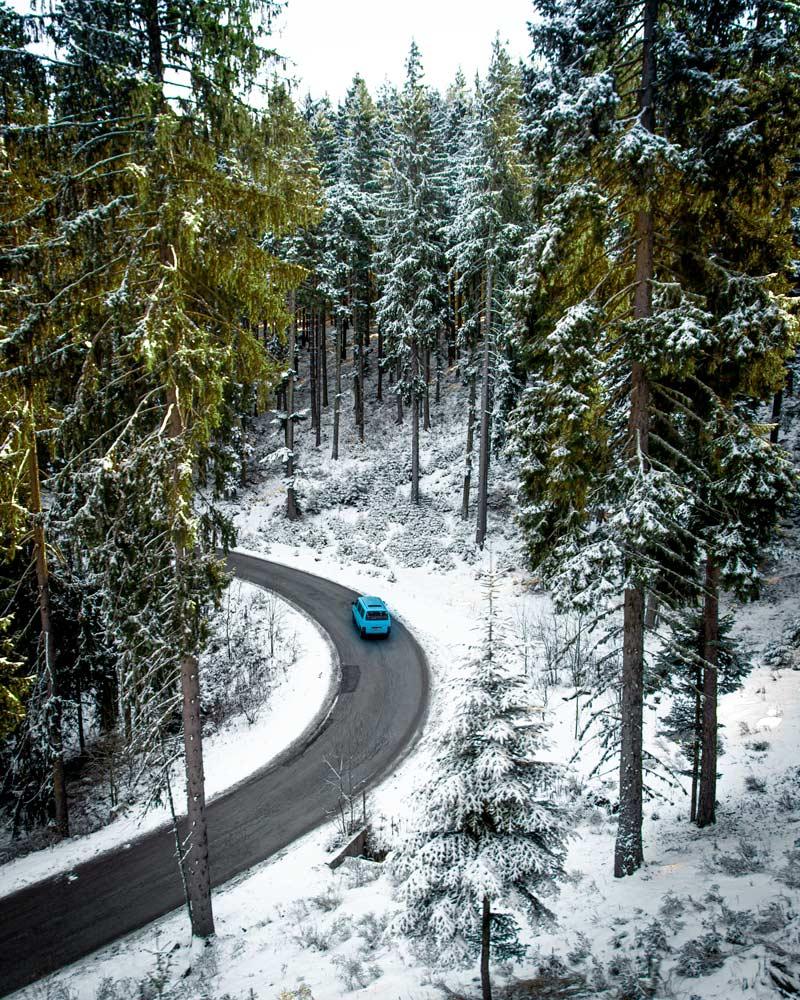 A snowy road in bansko Bulgaria