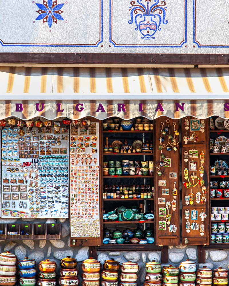 Bansko old town shop front with colourful pottery