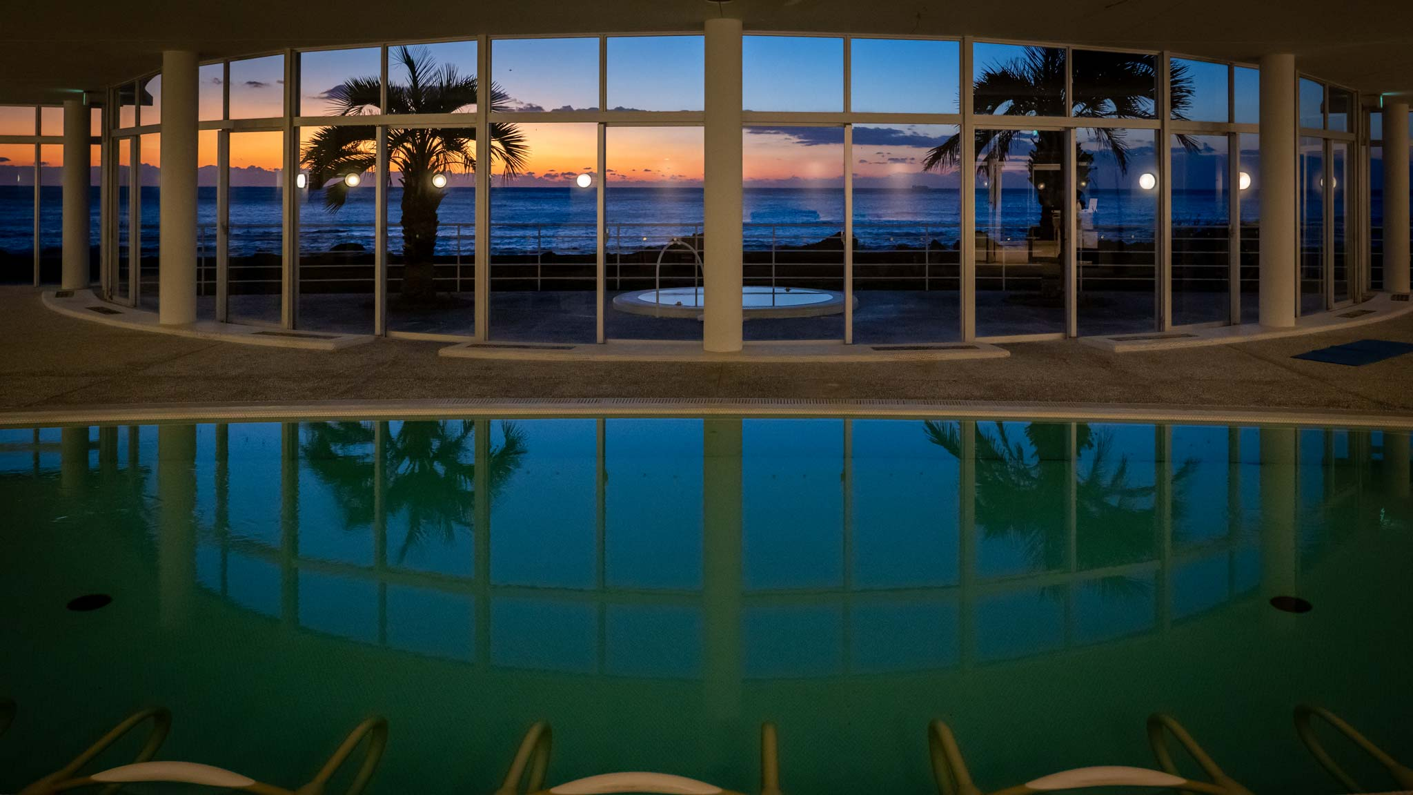 The deep sea therapy pool at sunrise