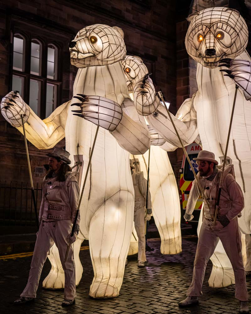Part of the edinburgh street party for NYE were these illuminated bears