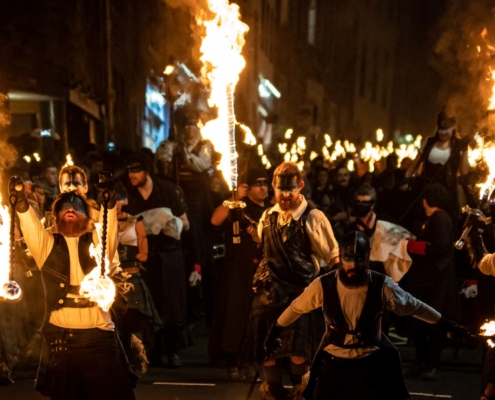 The start of the torchlight procession in Edinburgh
