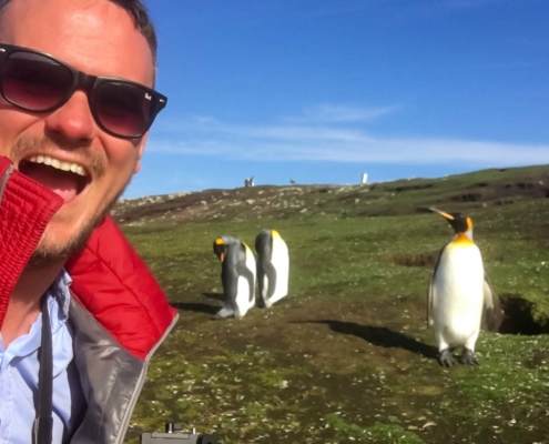Selfie with penguins in the Falkland Islands