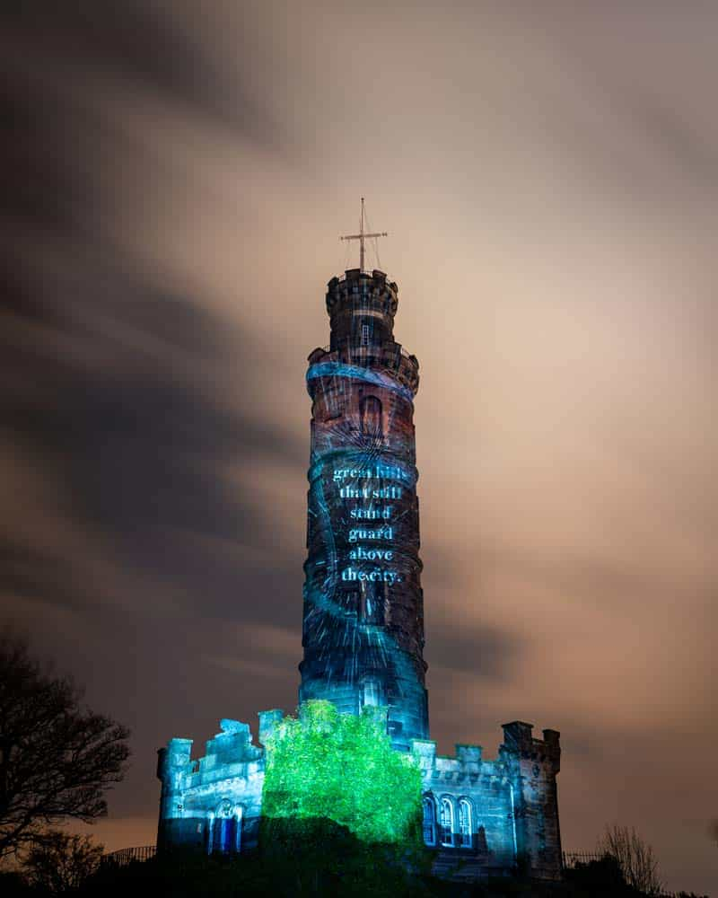 Illuminations of the messages are on various place, like the towering monument on Calton Hill