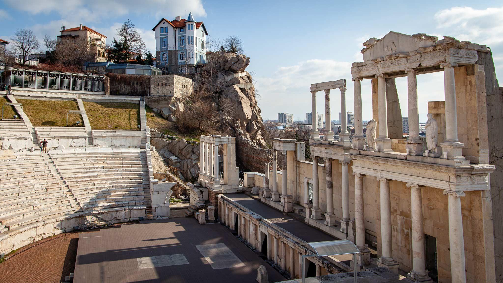 The old Roman amphitheatre in Plovdiv, Bulgaria