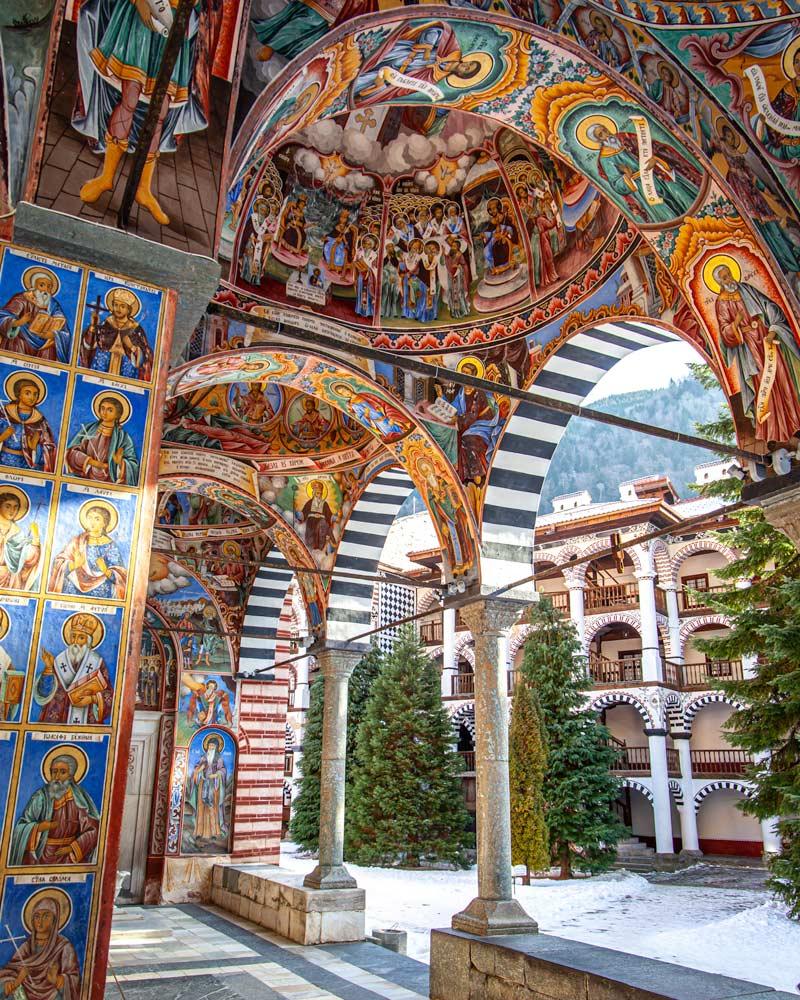 The colourful frescos of Rila Monastery