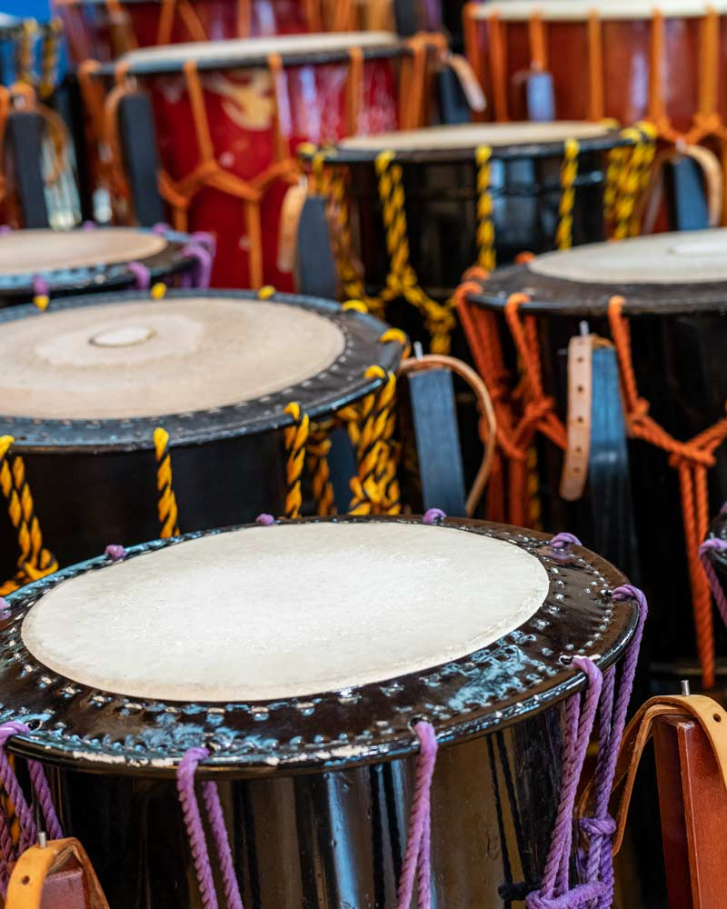 A row of taiko drums on Sado Island