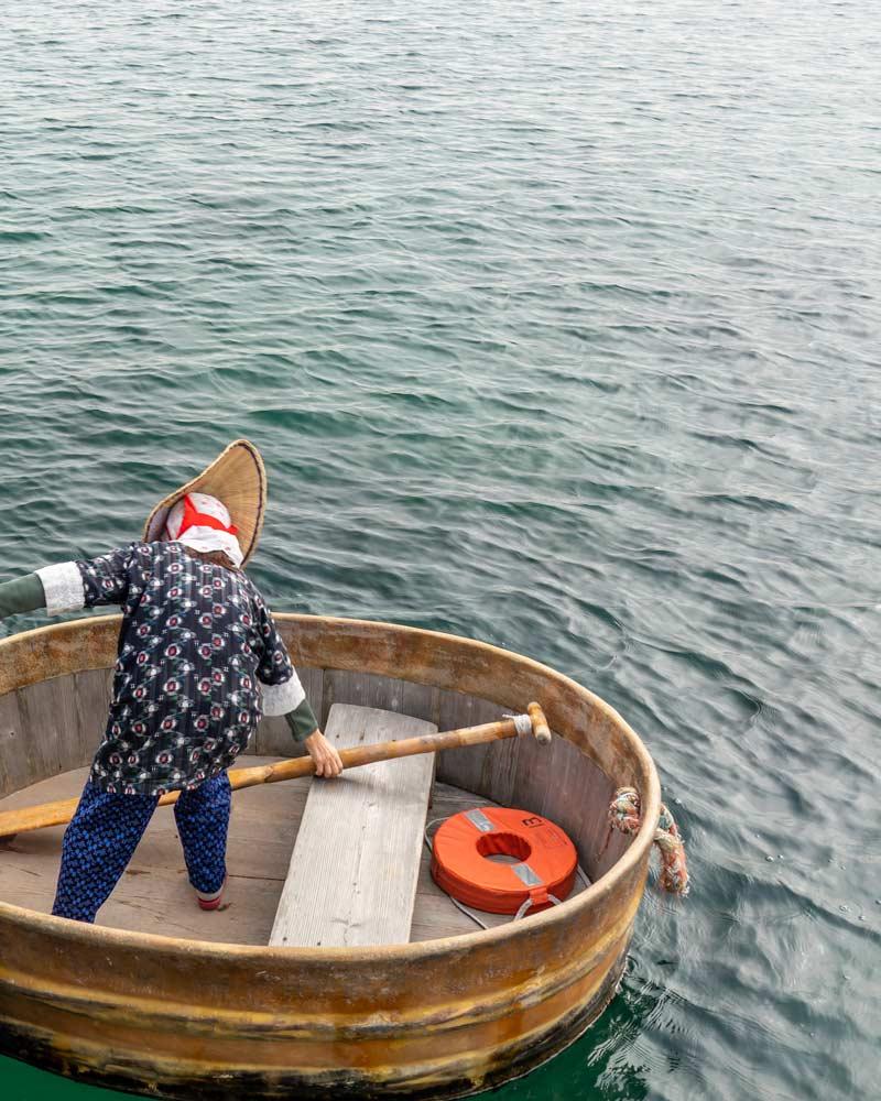 Traditional tub boats in Sado Japan
