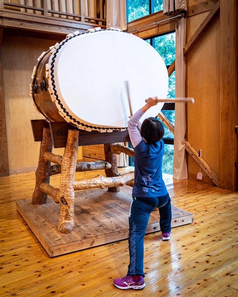 Taiko drum playing in Sado Island