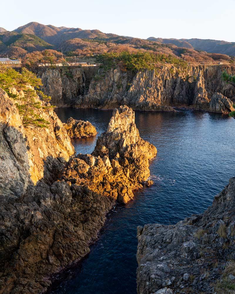 The rugged coastline of Sado Island