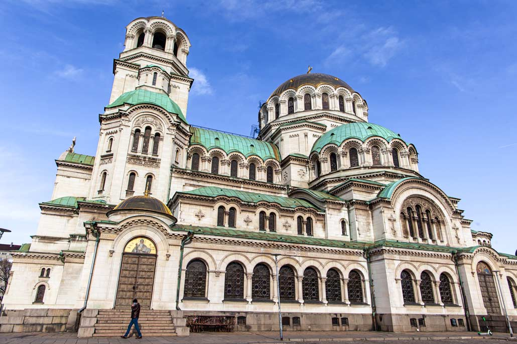 A huge church in the centre of Sofia, the capital of Bulgaria