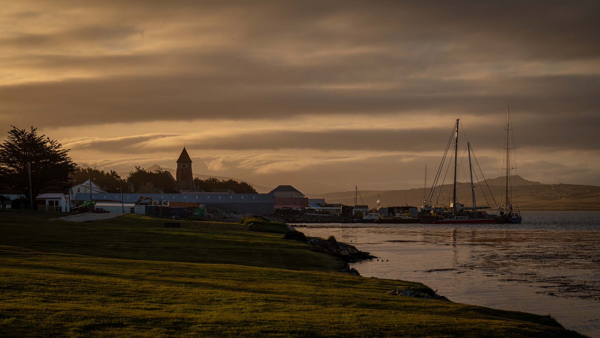 Sunset in Stanley, the capital of the Falkland Islands