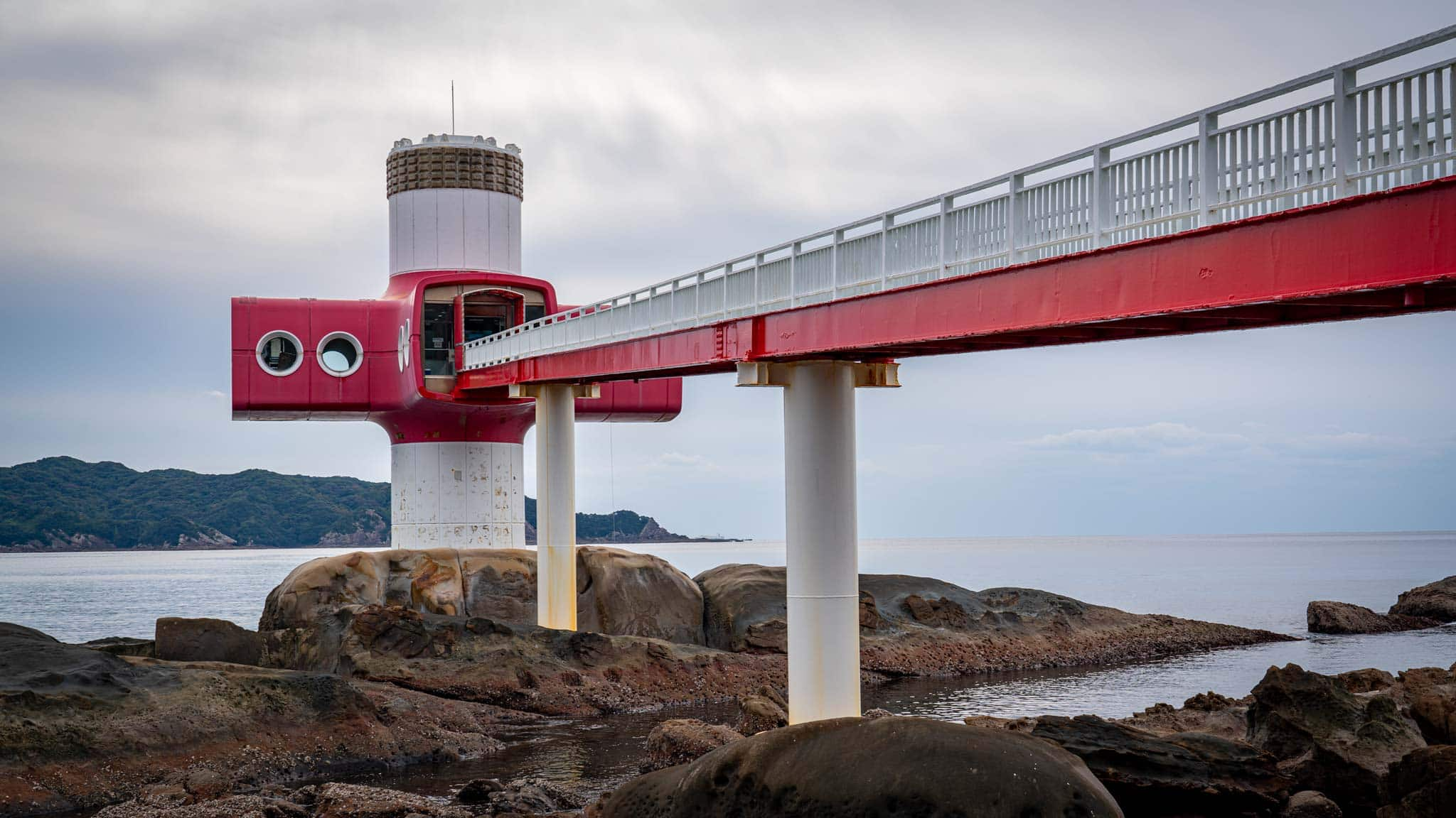 The red and white underwater observatory is quite unique