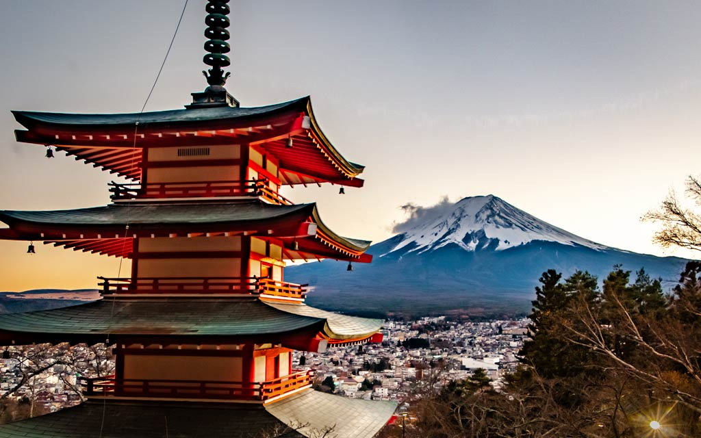 Mount Fuji as viewed from the pagoda