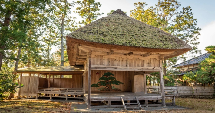 Noh Theatre Stage Outside in Sado Island