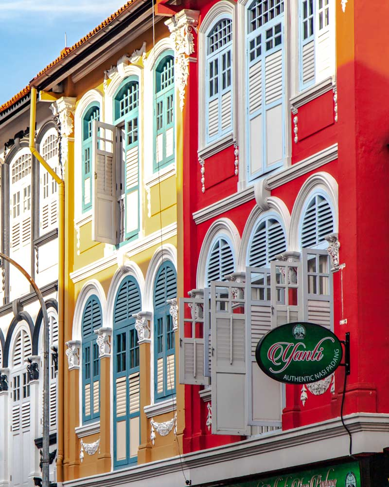 Colourful shutters and storefronts in Chinatown Singapore