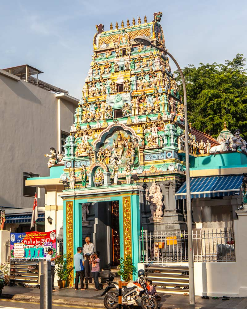 Hindu Temple with ornate colourful sculptures in Singapore
