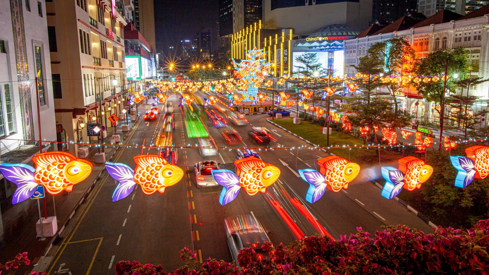 Colourful illuminated Chinese fish in Chinatown