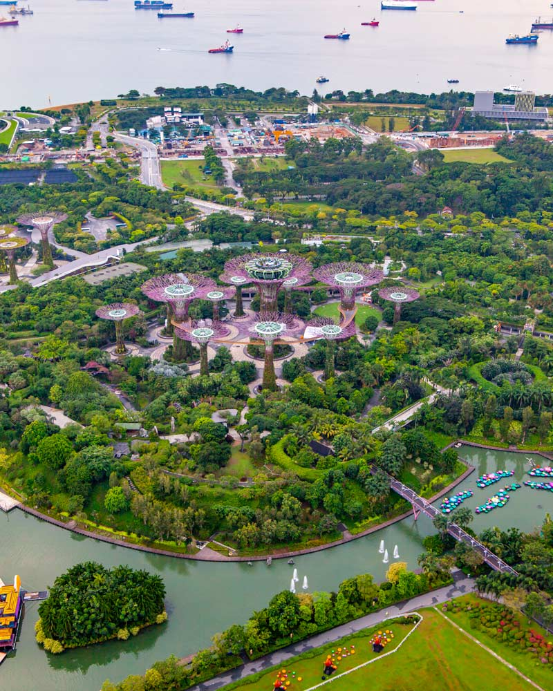 Gardens by the Bay as seen from above
