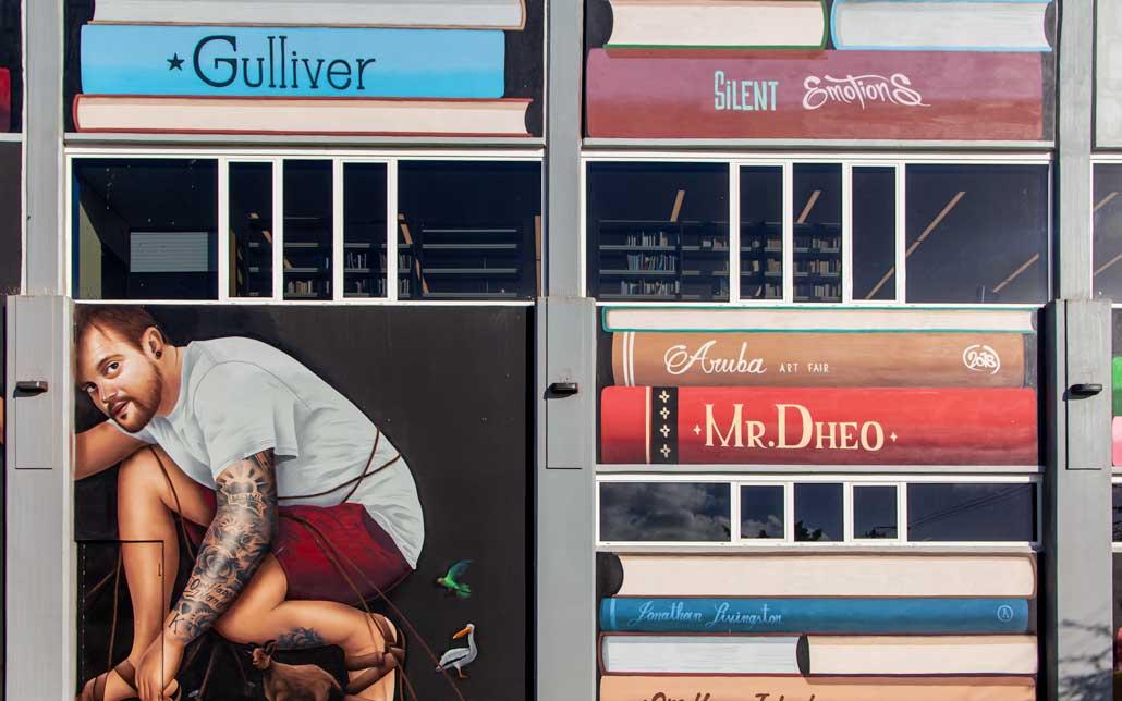 Street art of books in Aruba