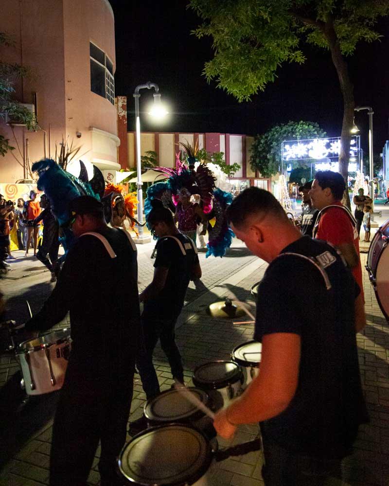 Steel drums being played on the streets in San Nicolas