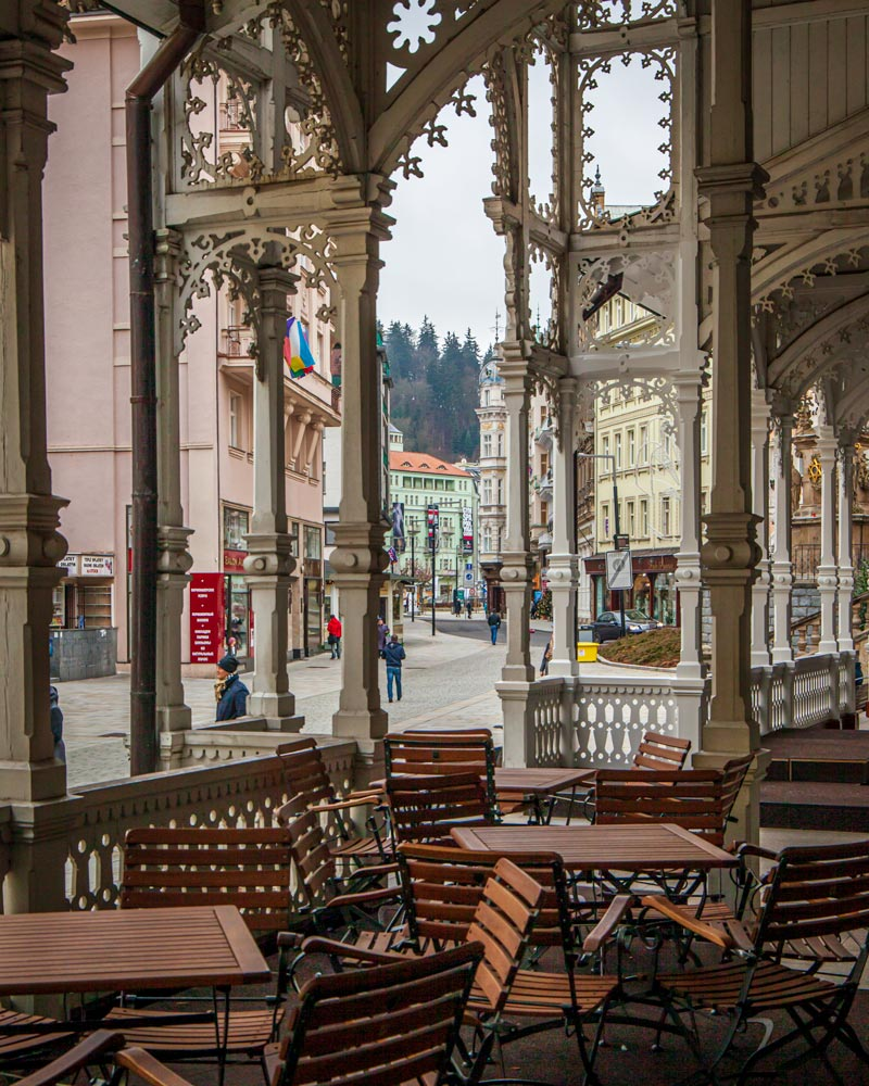 Wood work of a pavilion cafe in Karlovy Vary