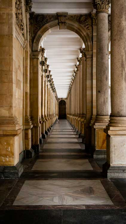A grand colonnade in Karlovy Vary