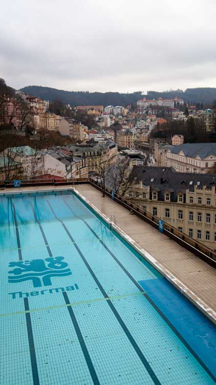 A thermal swimming pool above the city of Karlovy Vary