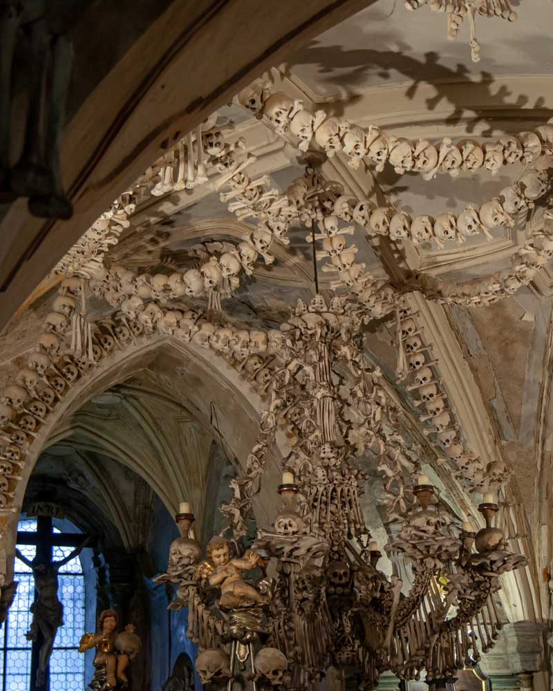 A chandelier made of bones in the Chapel of Kutna hora
