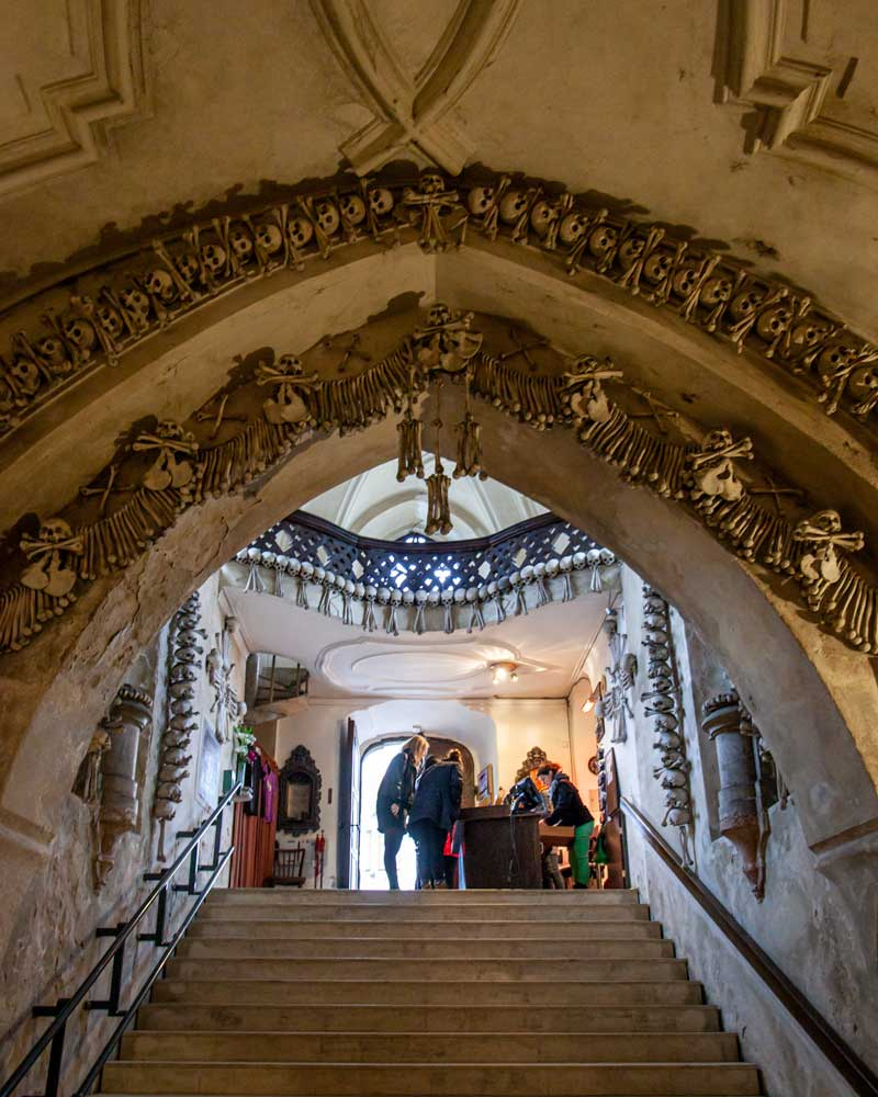 The entrance stair case to the Chapel of Bones