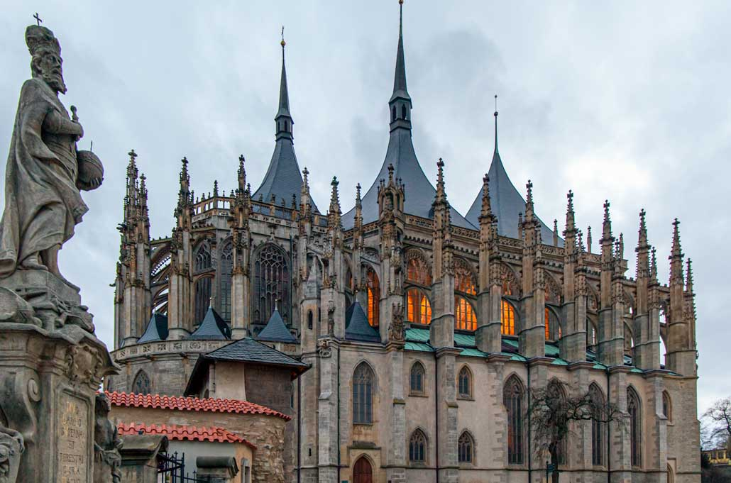The imposing cathedral of St Barbaras with gothic archiecture