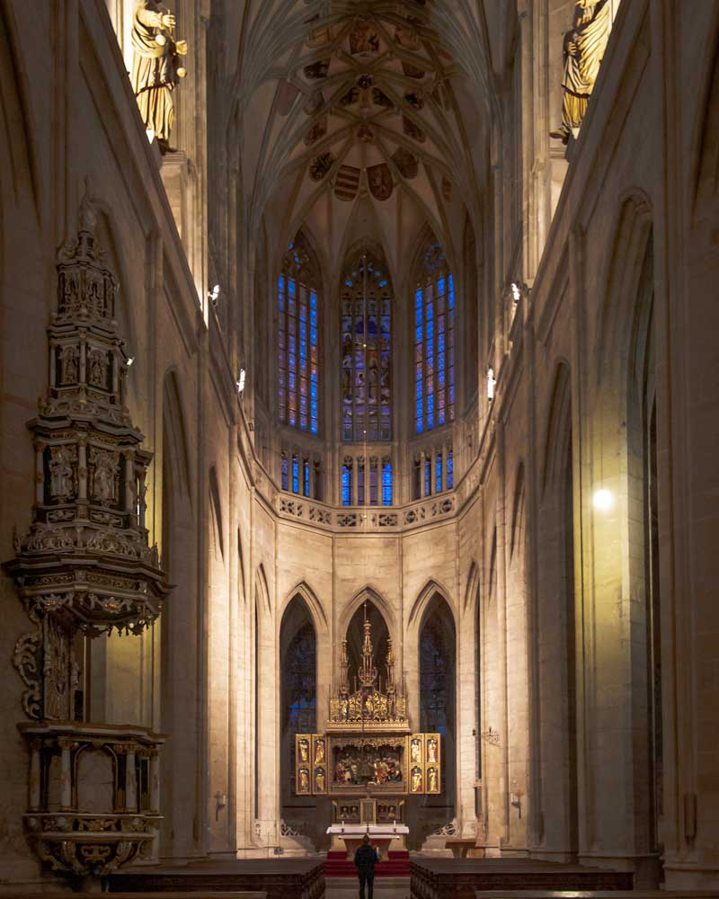 Inside the Cathedral with tall vaulted ceilings