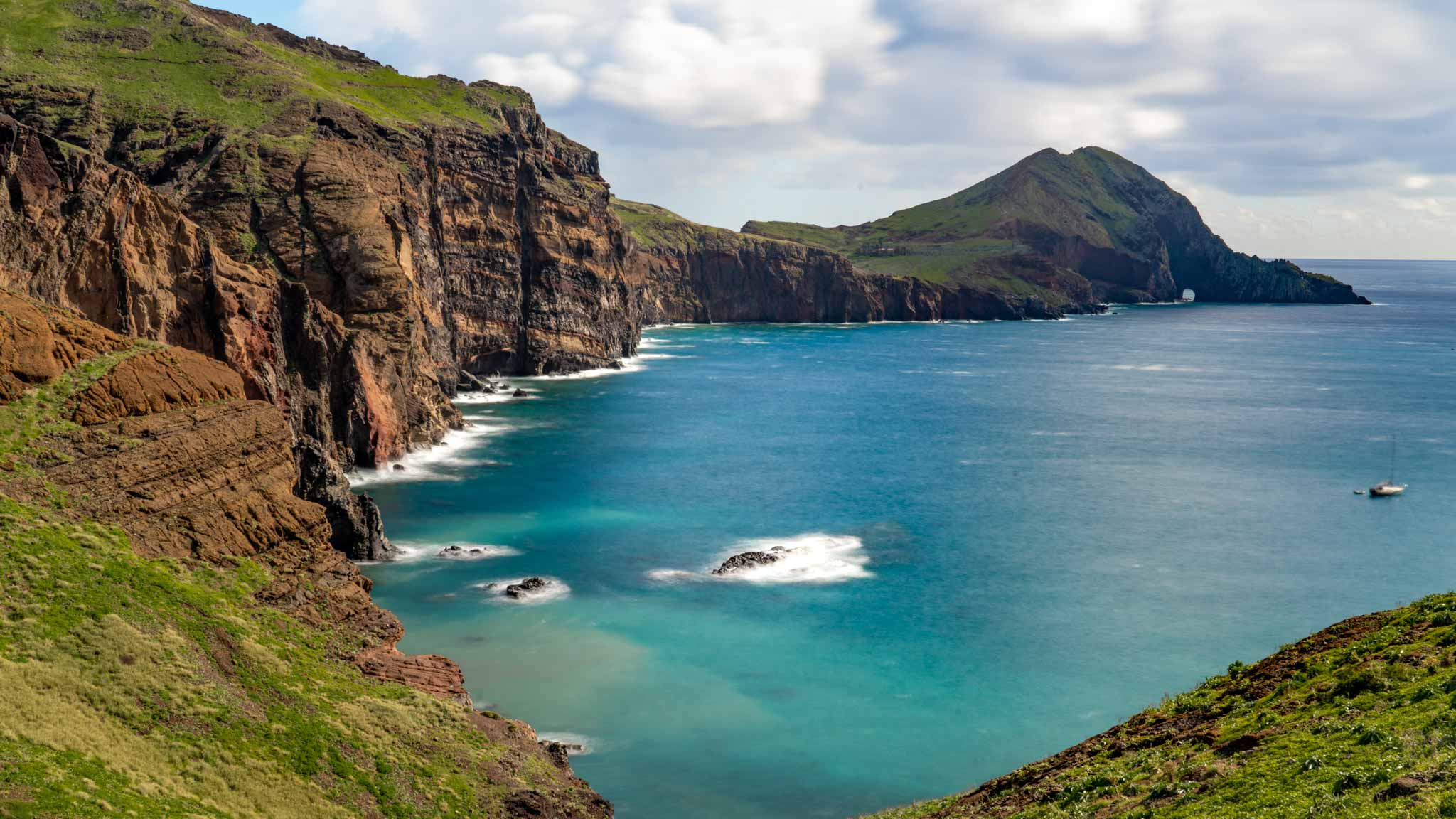 The trail out to Ponta de São Lourenço, with a beautiful blue ocean and green hills rising from the sea