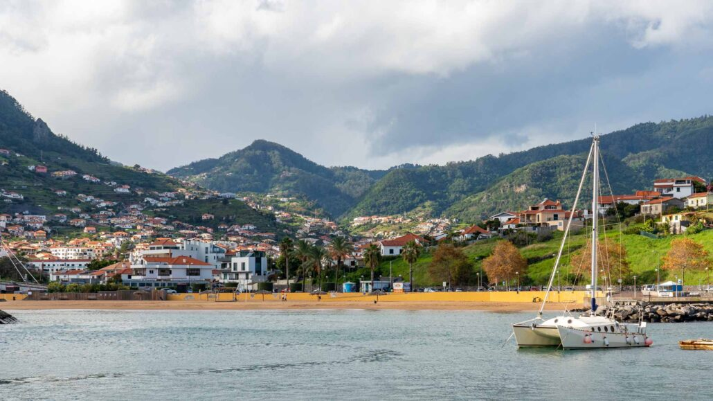 The golden beach of Machico on Madeira