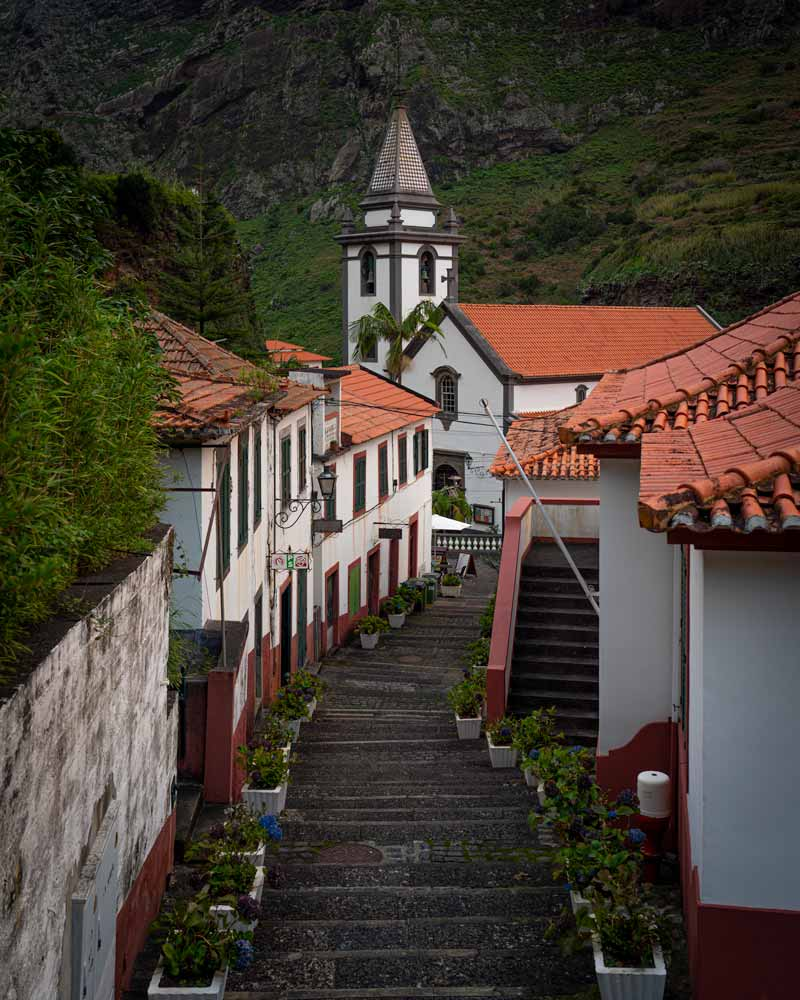 The church in Sao Vicente, reached by a staircase with flower pots on either side