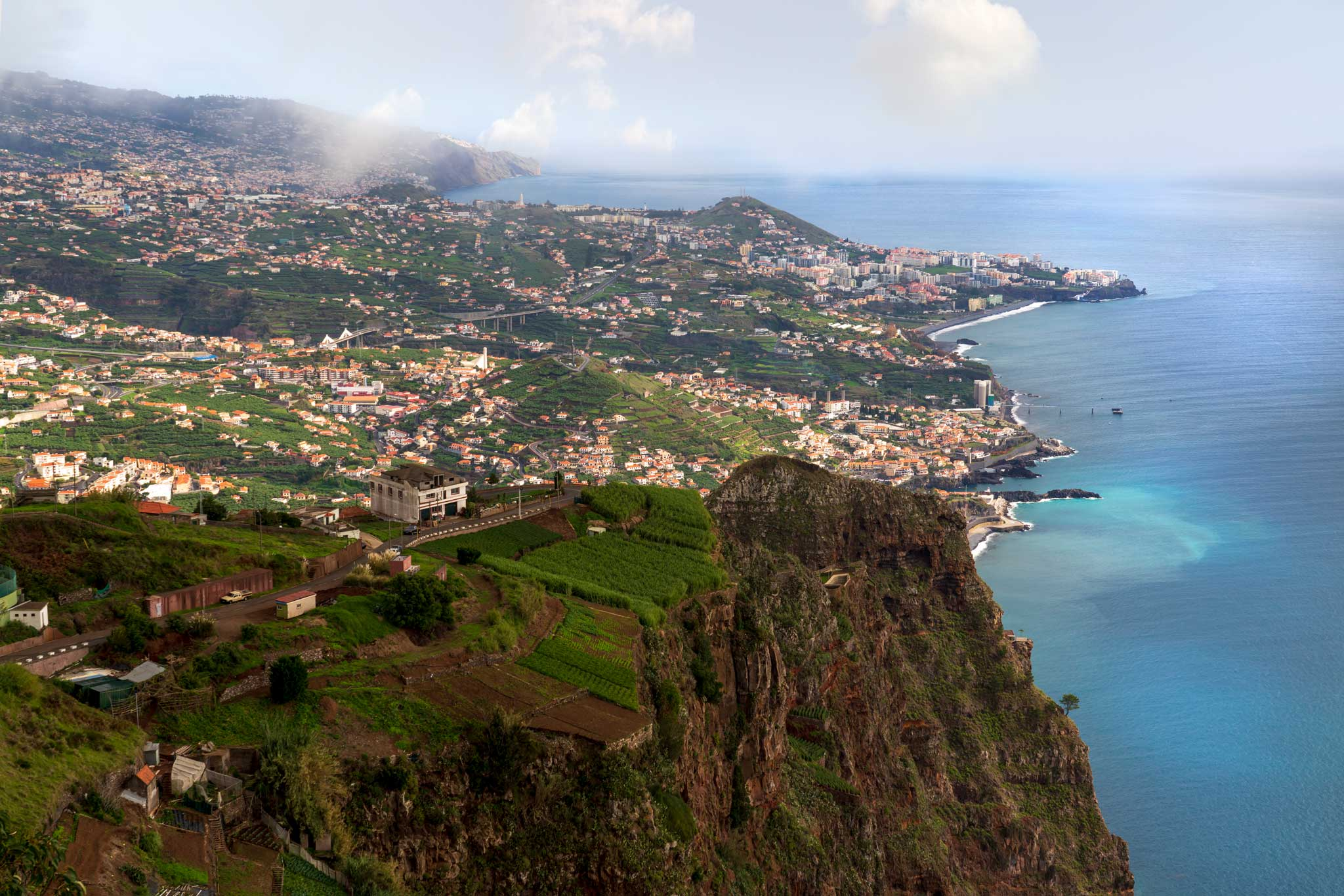 The view Cabo Girao across to Funchal