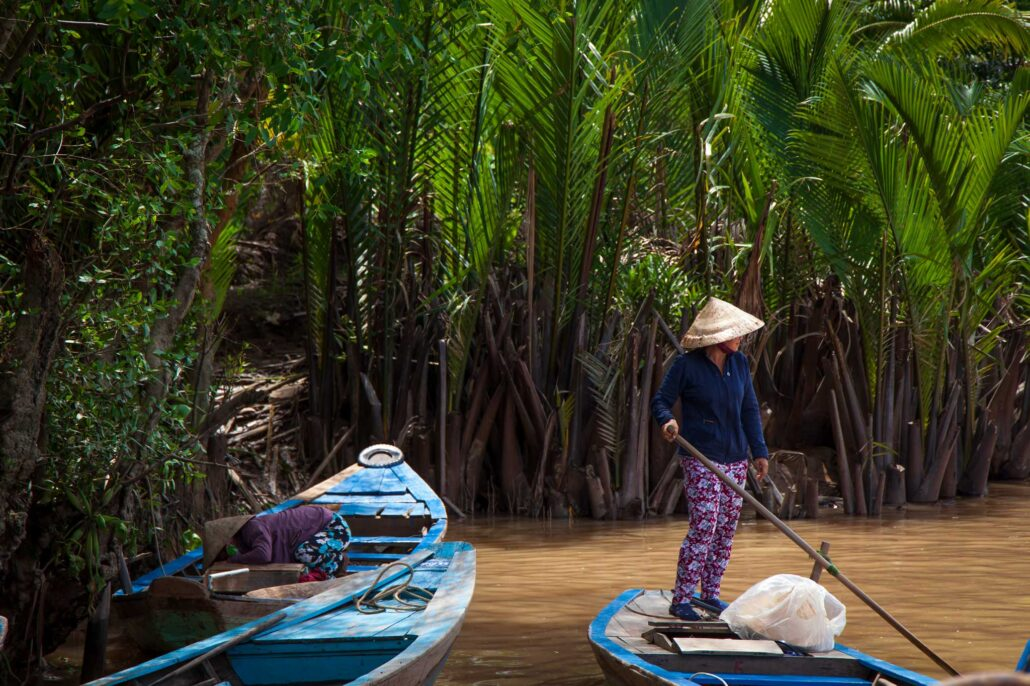 Tourist boats on the Mekong Delta