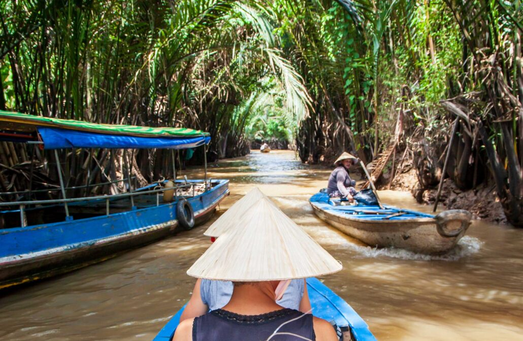 The more typical point to visit the Mekong Delta