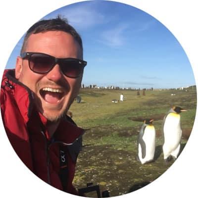 Dan with penguins
