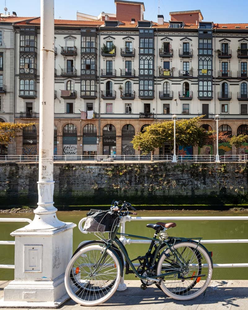 A bike in front of the river in Bilbao