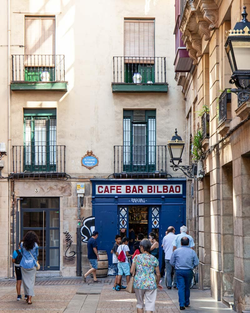 A cute blue doored bar in the Basque Country