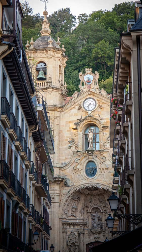 The view of the cathedral through narrow streets in the Basque Country
