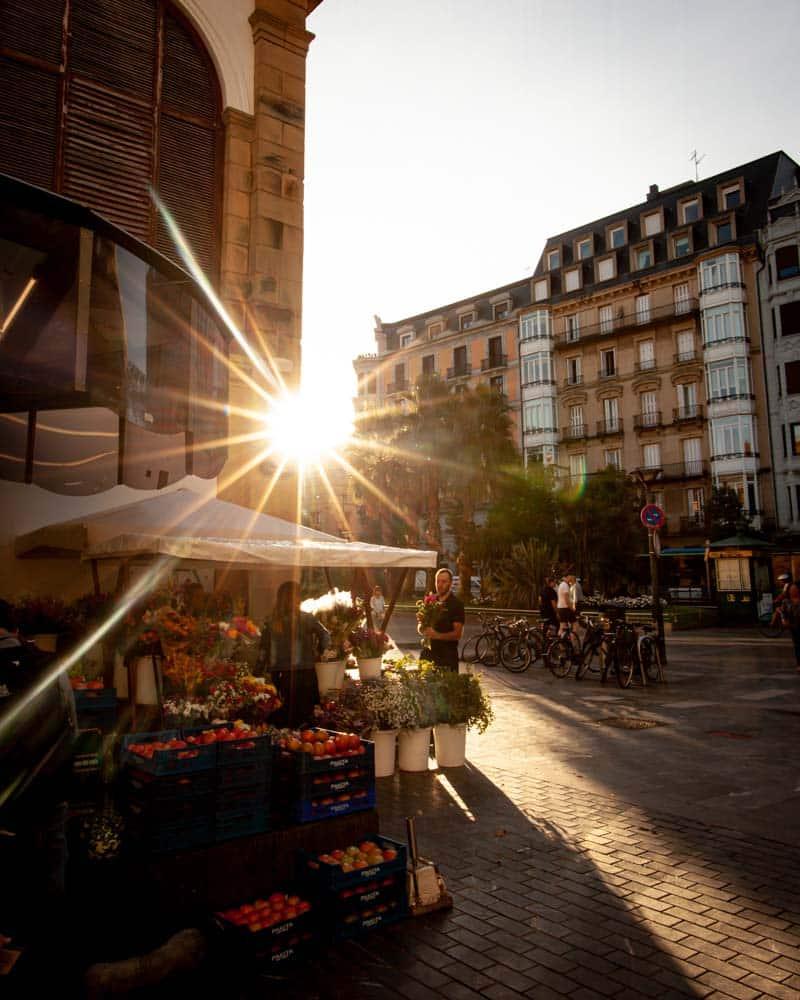 Sun rises over the market in San Sebatsian