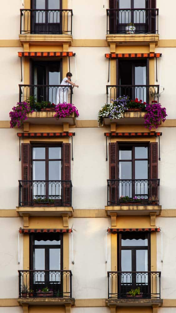 Colourful rows of windows with flower pots in the Basque Country